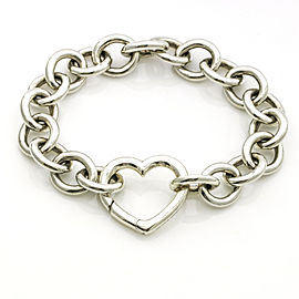 Tiffany & Co. Sterling Silver Round Link Heart Clasp Bracelet