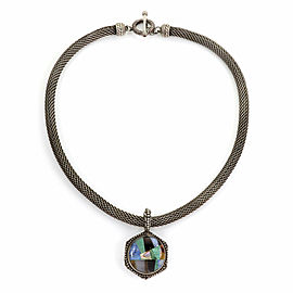 Stephen Dweck Multicolor Gems Inlaid Sterling Silver Pendant & 7mm Mesh Necklace