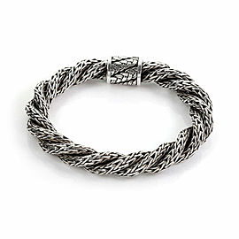 John Hardy Palu Sterling Silver Double Twist Woven Rope 9mm Thick Bracelet