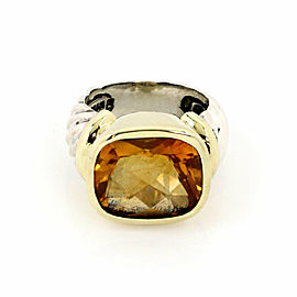 David Yurman Noblesse Citrine Sterling Silver & 14k Gold Cable Ring Size 6
