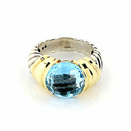 David Yurman Capri Blue Topaz Sterling Silver 14k Yellow Gold Ring