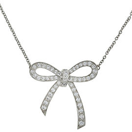 Tiffany & Co. Diamond Bow Platinum Pendant Necklace