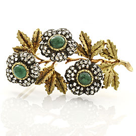 Buccellati 18k Yellow Gold Emerald Diamond Flower Brooch