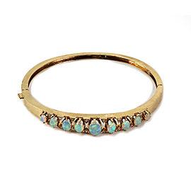 Fire Opal & Diamond 14k Yellow Gold Hinged Bangle Bracelet