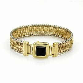 Estate 14k Two Tone Gold & Onyx 13.5mm Wide Mesh Bracelet