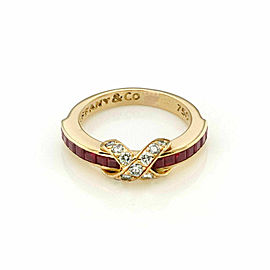 Tiffany & Co. Signature Diamond & Ruby X Crossover 18k Yellow Gold Ring