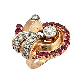 Retro Diamond & Ruby 14k Rose Gold Fancy Swirl Ring