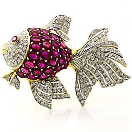 7.75 Carat 18k Gold Ruby Diamond Fish Brooch