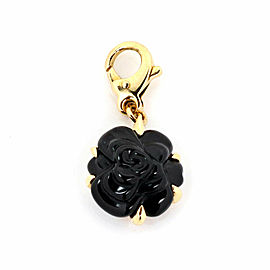 Chanel Camellia Onyx 18k Yellow Gold Carved Flower Charm Pendant