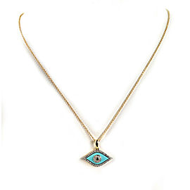 Diamond Turquoise Sapphire Good Luck Eye Pendant