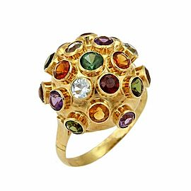 Multicolor Gemstones 18k Yellow Gold Sputnik Dome Ring