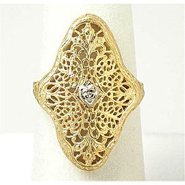 Diamond Filigree 14k Yellow Gold Ring