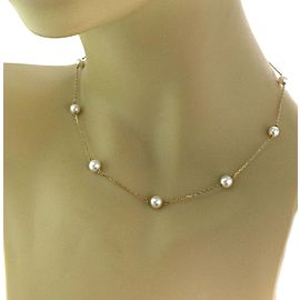 Mikimoto Pearls 18k Yellow Gold Chain Necklace