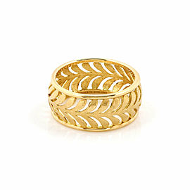 Tiffany & Co. Picasso Villa Palm Leaf 18k Yellow Gold 9mm Wide Band Ring Size 7