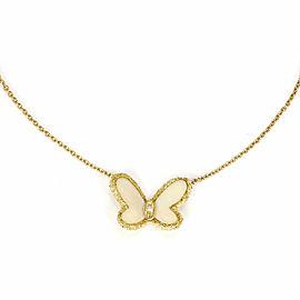 Vintage Rare Van Cleef & Arpels Diamond & White Coral 18k Gold Butterfly Pendant