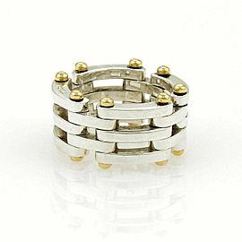 Tiffany & Co. Gatelink Sterling 18k Yellow Gold Flex Band Ring Size 5
