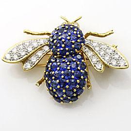 3.18 Carat 18k Gold Sapphire Diamond Bee Brooch