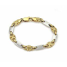 Bar & Stirrup Link 8.8mm Wide 18k Two Tone Gold Bracelet