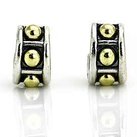 Lagos Sterling Silver 18k Gold Caviar Small Huggie Hoop Earrings
