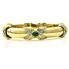 Emis 18k Yellow Gold Emerald Diamond Bangle Bracelet