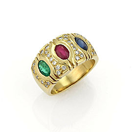 Diamonds Ruby Sapphire & Emerald 18k Yellow Gold Dome Band Ring Size 6.5