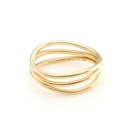 Tiffany & Co. Elsa Peretti 18k Yellow Gold 3 Row Wire Wave Band Ring - Size 5
