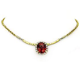 39.34 Carat 18k Yellow Gold Rubellite Tourmaline Diamond Pendant Necklace