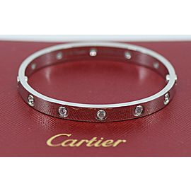 Cartier 10 Diamond 18K White Gold Love Bracelet Size 16
