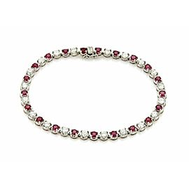 Estate 5.58ct Diamond & Ruby Platinum Prong Set Tennis Bracelet