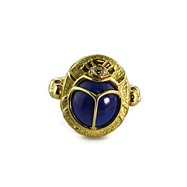 Estate 2.09ct Lapis & Diamond 18k Yellow Gold Scarab Beetle Ring Size 8