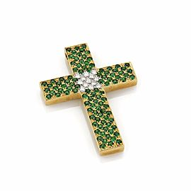 Tsavorite & Diamond 18k Yellow Gold Cross Pendant w/DGL Cert.