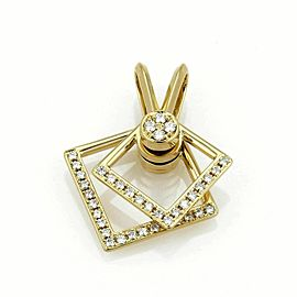 Waltham Diamond 18k Yellow Gold Double Square Spinner Pendant