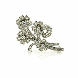 Estate Diamond Platinum Spinning Floral Spring Brooch Pin