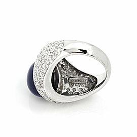 Antonini Diamond & Onyx 18k White Gold Dome Band Ring Size 7