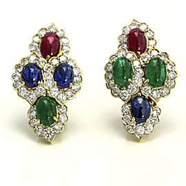 18k Yellow Gold Ruby Emerald Sapphire Diamond Earrings