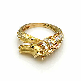 J.P Bellin Diamond 18k Yellow Gold Horse Ring - Size 5.5