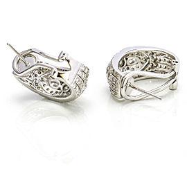 1.50 Carat 18k White Gold Diamond Half Hoop Oval Earrings