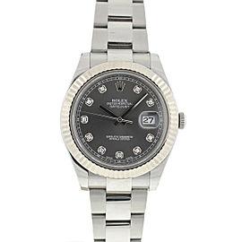 Rolex 116334 Datejust II Factory Slate Diamond Dial Stainless Steel Watch