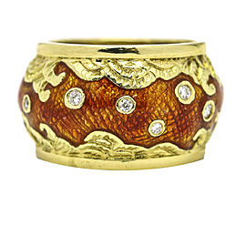 18 Karat Yellow Gold Enamel Diamond Wave Dome Band Ring