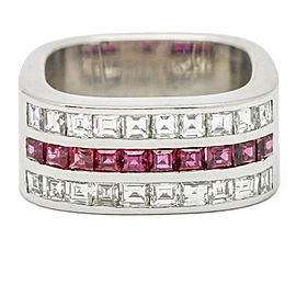 2.00 Carat 18k White Gold Square Ruby Diamond Band Ring