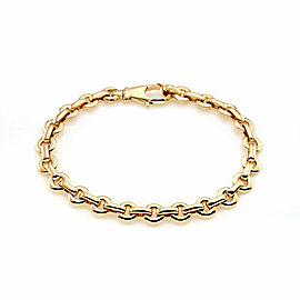 "Cartier Flat Round 18k Yellow Gold Link Chain Bracelet 7.5"" Long w/Paper"