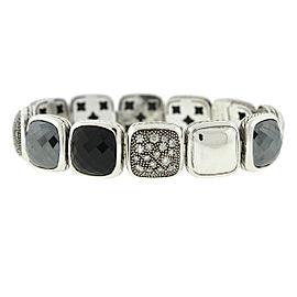 David Yurman Chiclets One Row Diamond , Hematite ,Onyx Sterling Silver Bracelet