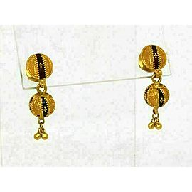 Fancy Enamel Beaded 22k Gold Ball Drop Dangle Earrings