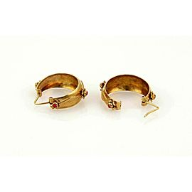 Coral Gems Dangling Hoop 14k Yellow Gold Earrings