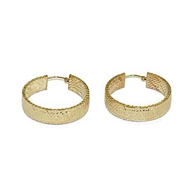 Diamond Cut Illusion 14k Yellow Gold Wide Hoop Earrings