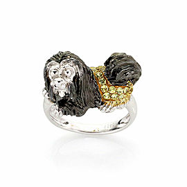 Lhasha Opso Sapphires 14k Yellow Gold 3D Dog Ring