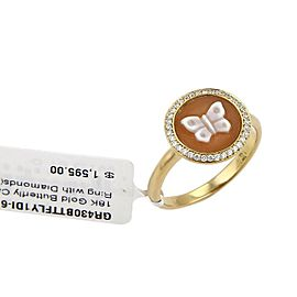 Ippolita Diamond Butterfly Cameo 18k Yellow Gold Round Ring