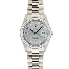 Rolex 118346 Day Date 36 Platinum Ice Blue Diamond Dial & Bezel President Watch