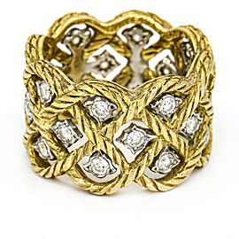 Bucellati 18k Gold Etoilee Diamond Wide Band Ring