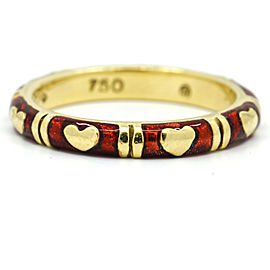 Hildalgo 18k Yellow Gold Red Enamel Hearts Band Ring